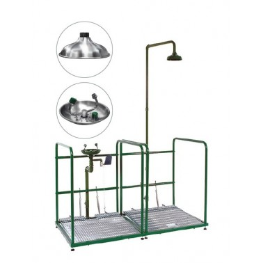Combinación de lavaojos y ducha de emergencia con doble peana recogedor y rociador de polipropileno Bocchi