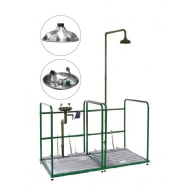 Combinación de lavaojos y ducha de emergencia con doble peana recogedor y rociador de acero inox Bocchi