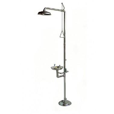 Combinación ducha de emergencia y lavaojos con pedestal a suelo en acero inoxidable Bocchi