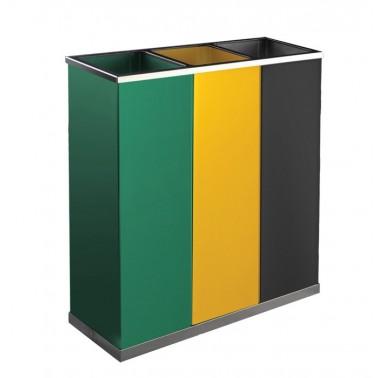 Papelera de reciclaje color tres residuos