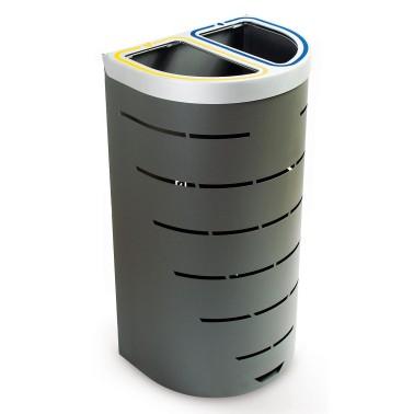 Papelera selectiva compacta para dos residuos