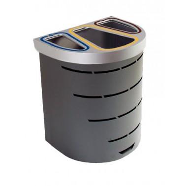 Papelera selectiva compacta para tres residuos