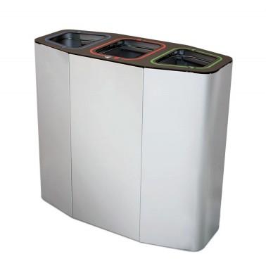 Papelera de reciclaje para tres residuos