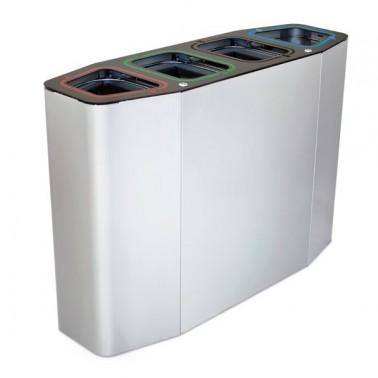 Papelera de reciclaje para cuatro residuos