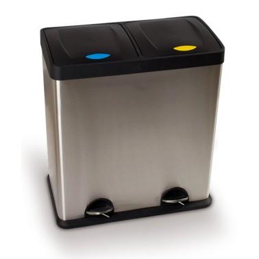 Papelera de reciclaje doméstica para dos residuos