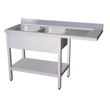 Fregadero para lavavasos y lavaplatos con dos cubetas y escurridor derecho de 1600x600 mm Fricosmos