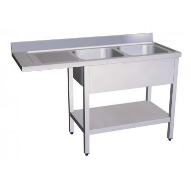 Fregadero para lavavasos y lavaplatos con dos cubetas y escurridor izquierdo de 1400x550 mm Fricosmos