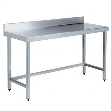 Mesa industrial con peto fabricada en acero inoxidable acabado satinado NOFER