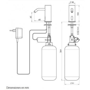 Dispensador de jabón líquido sobre encimera automático de latón brillant