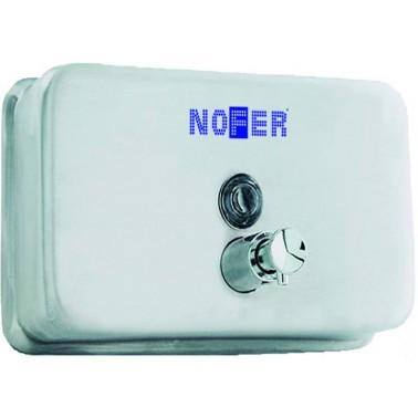 Dosificador de jabón horizontal fabricado en acero inoxidable acabado satinado NOFER