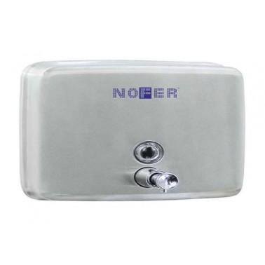 Dosificador de jabón horizontal fabricado en acero inoxidable acabado brillo NOFER