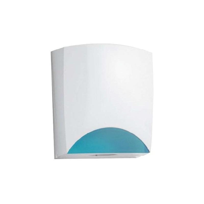 Dispensador de papel toalla de ABS blanco y azul translúcildo
