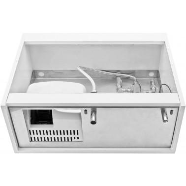 Mueble compacto para instalación tras espejo equipado con grifo termostático y dosificador de jabón NOFER