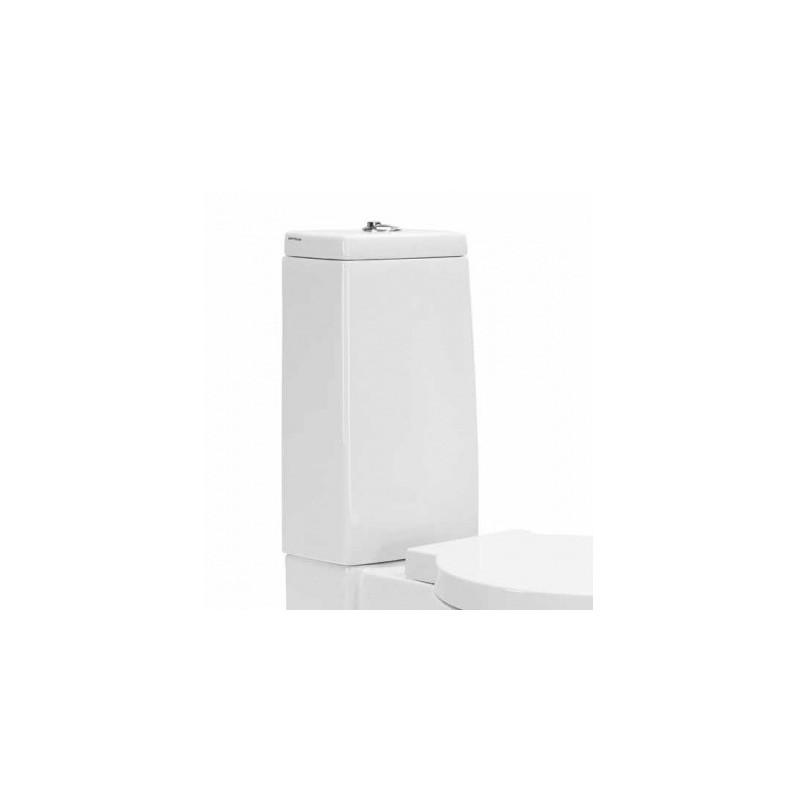 Cisterna baja con tapa y mecanismo doble descarga instalado alimentación superior modelo Nau UNISAN