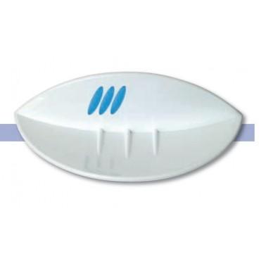 Jabonera fabricada en abs acabado blanco y azul serie 2100 Komercia