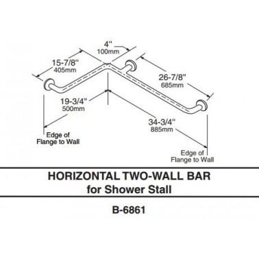 Barra de sujeción horizontal para dos paredes