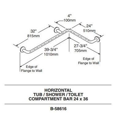 Asidero horizontal para dos paredes