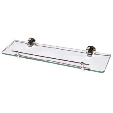 Repisa de baño en latón cromado y cristal