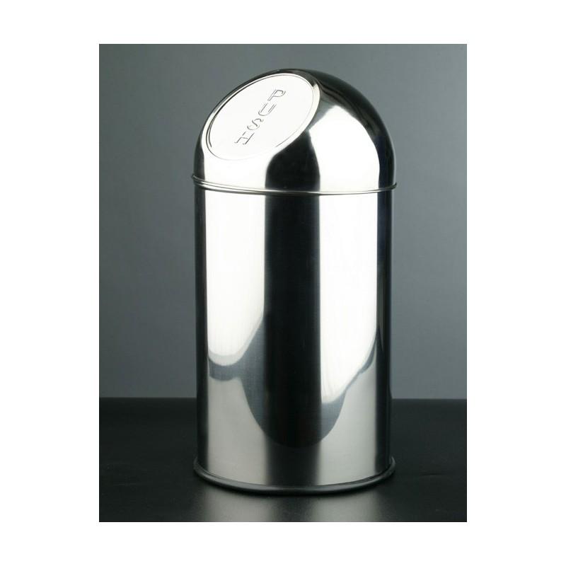 Papelera push capacidad 10 litros fabricada en acero inoxidable acabado brillante