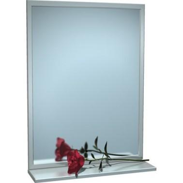 Espejo con marco y repisa de acero inoxidable marca ASI