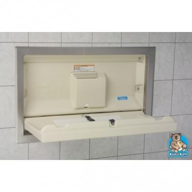 Cambiador de bebés horizontal para empotrar con soporte de acero inox