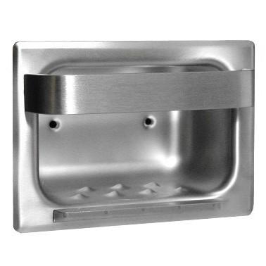 Jabonera con barra toallero de acero inox satinado empotrable
