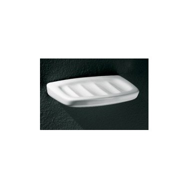 Jabonera sencilla en porcelana vitrificada blanca