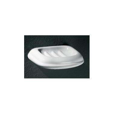 Jabonera pequeña de porcelana vitrificada blanca