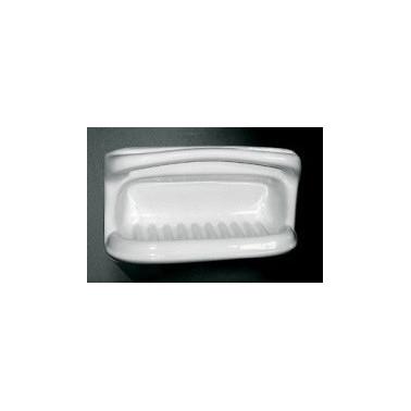 Jabonera esponjera de porcelana vitrificada blanca