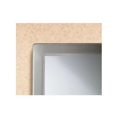 Espejo de vidrio templado con marco acanalado de acero inox brillo