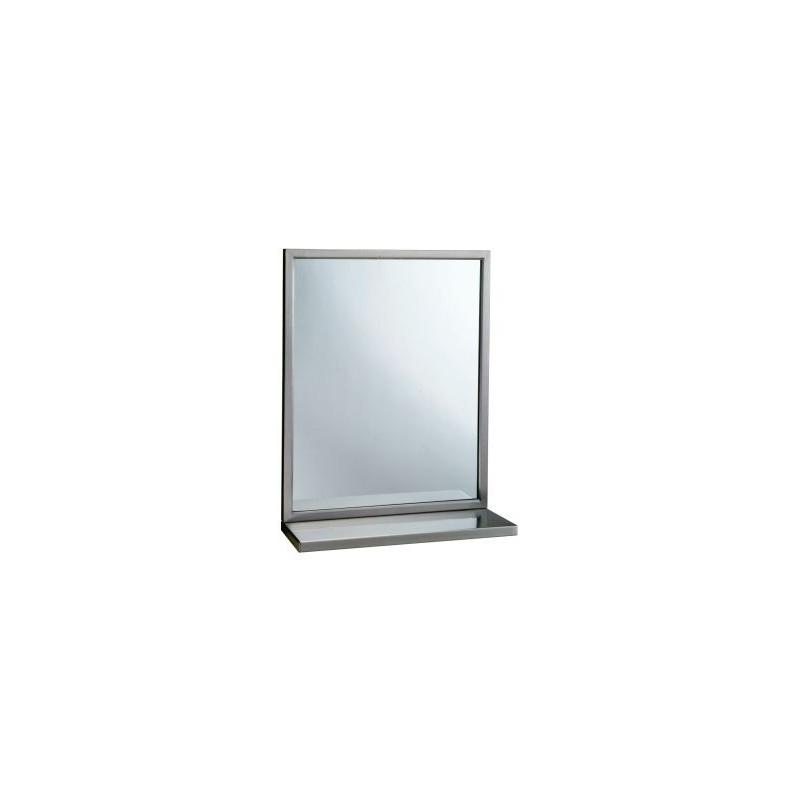 Espejo con estante con marco de acero inox satinado