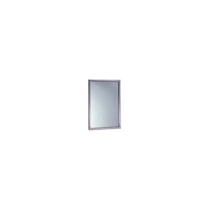Espejo de vidrio templado con marco soldado de acero inox satinado