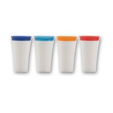 Vaso porta cepillos de dientes de ABS blanco con tapa de distintos colores