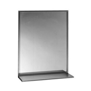 Espejo con estante y marco acanalado en acero inox brillante