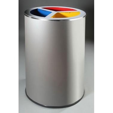 Papelera de reciclaje circular con tapa para tres residuos