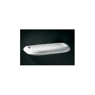 Jabonera grande fabricada en porcelana vitrificada blanca
