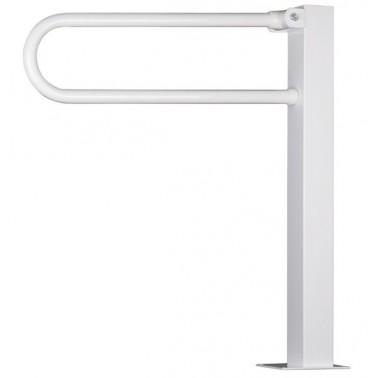 Asidero abatible 800 mm de acero cincado con recubrimiento de pvc sobre pedestal en acero inox lacado.