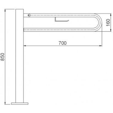 Asidero abatible 600 mm en acero cincado con portarrollos recubierto de pvc sobre pedestal de acero inox lacado.