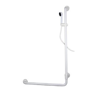 Asidero ángulo recto a una pared de acero cincado recubierto pvc de orientación derecha con kit de ducha.