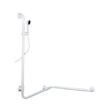 Asidero ángulo recto a dos paredes en acero cincado recubierto pvc y orientación izquierda con kit de ducha.
