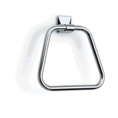 Toallero trapecio pequeño de acero cromado acabado brillante Komercia