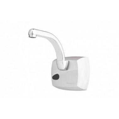 Grifo electrónico visto para lavabo con caño normal de cromo mate con Pila 5520 PRESTO