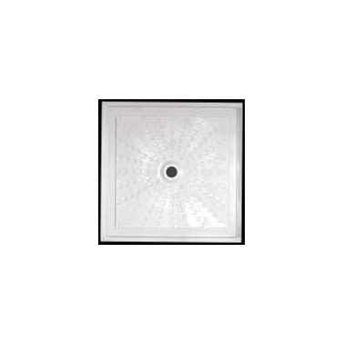 Plato de ducha extraplano para instalación enrasada a suelo acrílico medidas 80x80x5 Komercia