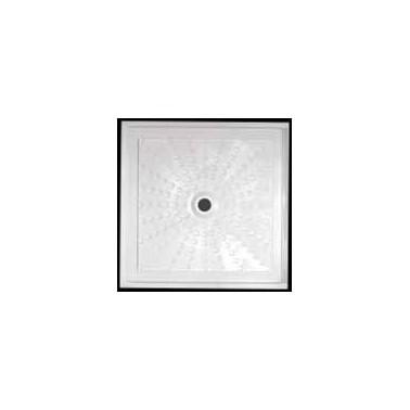 Plato de ducha extraplano para instalación enrasada a suelo acrílico medidas 90x90x5 Komercia