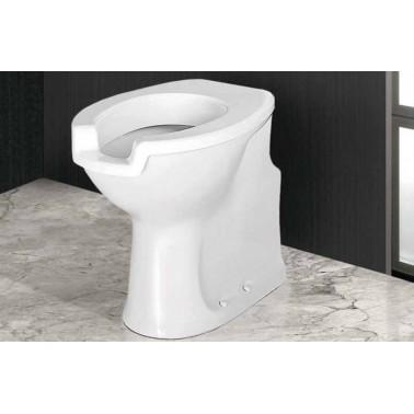 Inodoro ergonómico con pulsador blanco, asiento y tapa Presto