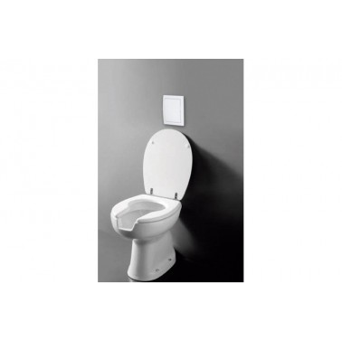 Inodoro ergonómico con pulsador, asiento y tapa salida a pared Presto