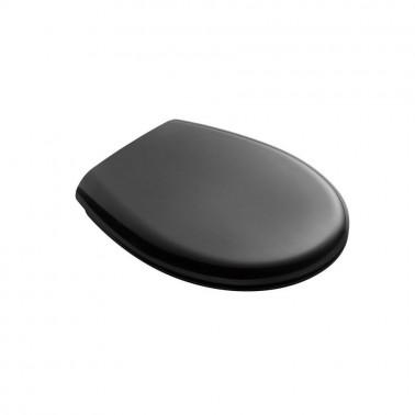 Asiento y tapa de inodoro fabricada en PVC negro Presto
