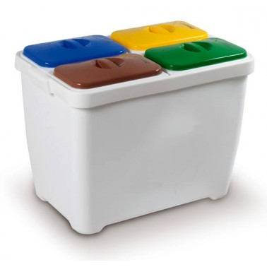 Contenedores de reciclaje compacto para separación de cuatro residuos
