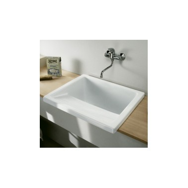 Lavadero de porcelana blanca komercia suministros sanitarios for Fregaderos roca porcelana