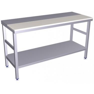Mesa de preparación central con polietileno blanco y estante bajo de 1500x600x850 mm Fricosmos